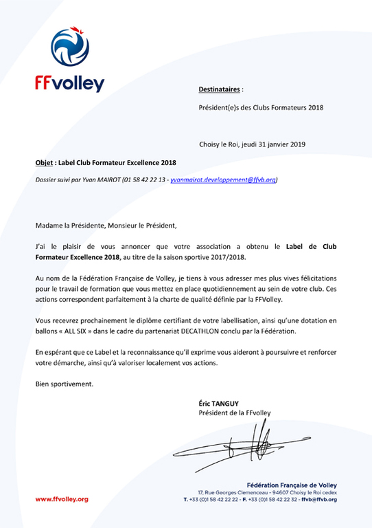 Label Club Formateur Excellence